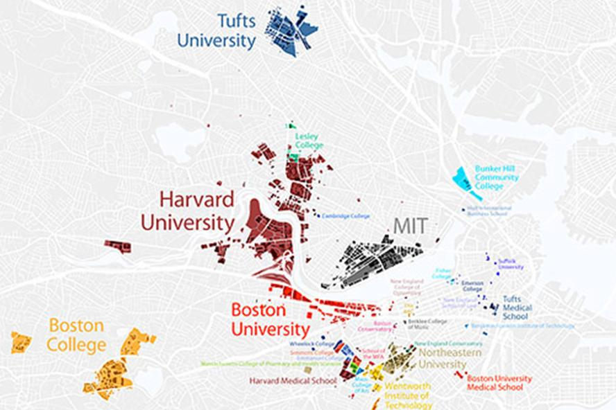 Local map with Tufts and local colleges
